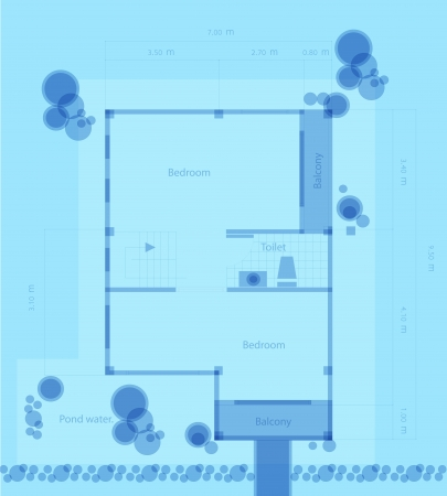 Plan of a house with a blue background Stock Vector - 22632260