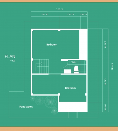 wooden metre: Plan of a house with a green background  Illustration