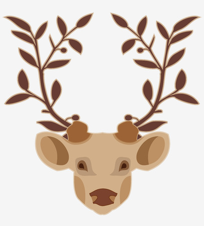 horny: Deer head with white background  Illustration