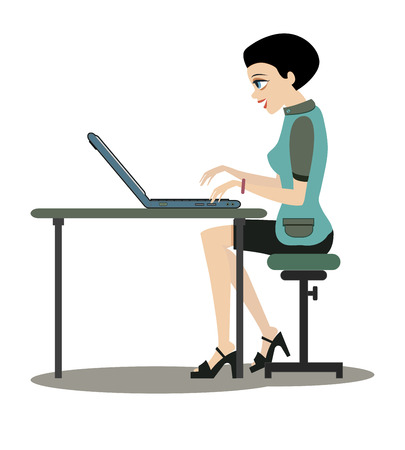 sedate: Woman working at computer desk with a white background  Illustration