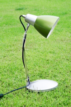 Lamp with grass in the background  photo