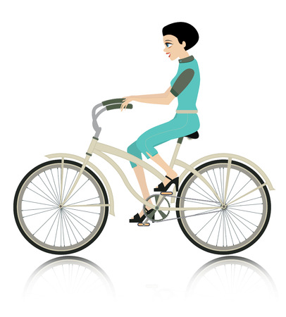 Woman riding a bike with a white background