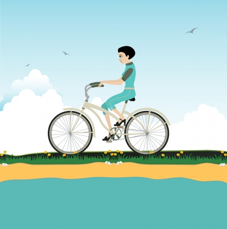 passing the road: Woman riding bicycle on the streets  Illustration