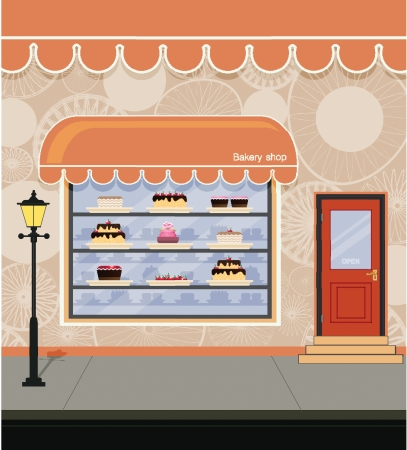 Storefront bakery adjacent city streets  Vector