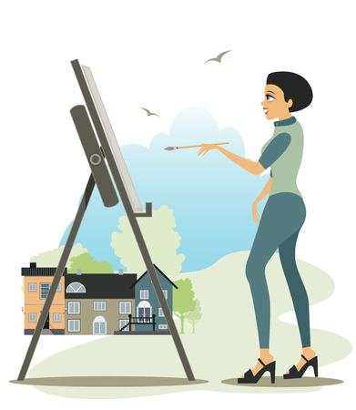 Women artists are drawing the city as a backdrop  Vector