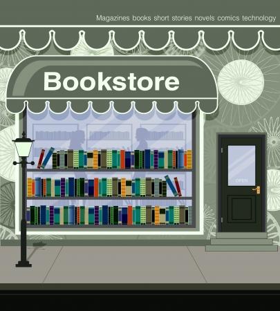 buchhandlung: Buchhandlung auf den Stra�en der Stadt befindet Illustration