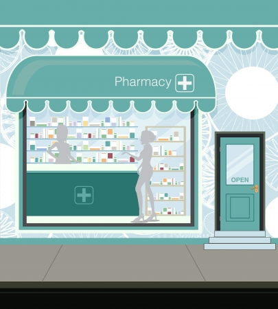 pharmacy icon: Pharmacy at the street in city Illustration