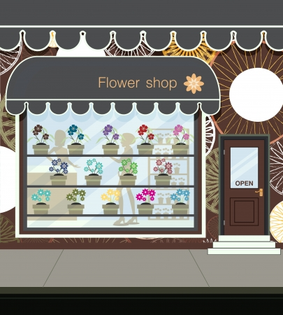 Flower shop at the street in city Vector