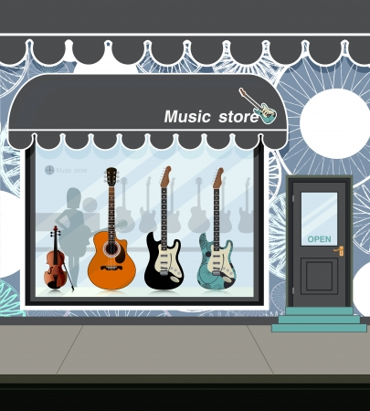 Street music store in town  Vector