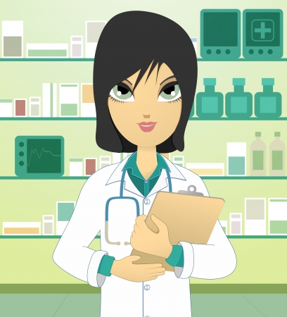 Woman doctor in the hospital room Vector Illustration