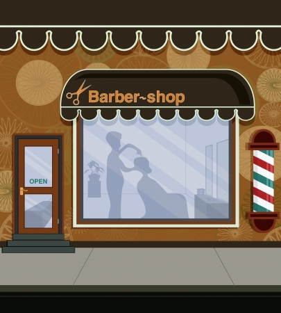 shop show window: Barber shop in the city street