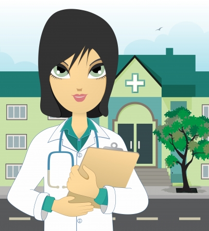 Female doctor in front of the hospital  Vector