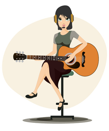 Woman playing guitar with white background