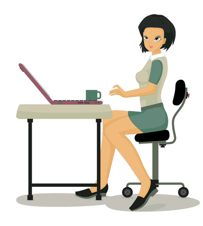 Woman working at computer desk with a white  向量圖像