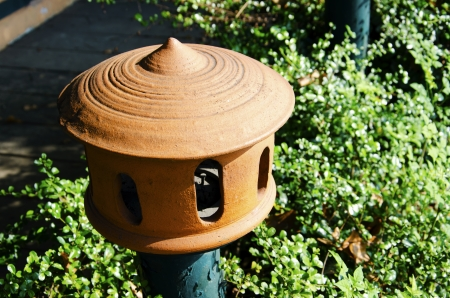 ceramicist: Lamp made  of pottery with trees