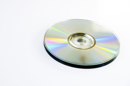 Side of the CD-ROM with a white backdrop  Stock Photo