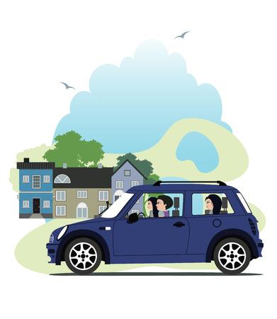 car showroom: mujer que conduc�a un coche mini con la ciudad como tel�n de fondo