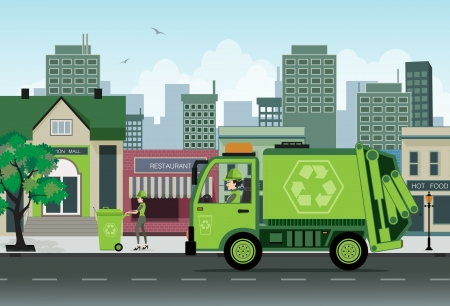 ダンプ: 都市でのガベージ コレクションの従業員であります。  イラスト・ベクター素材
