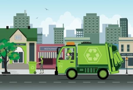camion de basura: �Los empleados de la recolecci�n de basura en la ciudad
