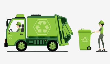 basurero: La basura y la recolección de basura con el fondo blanco