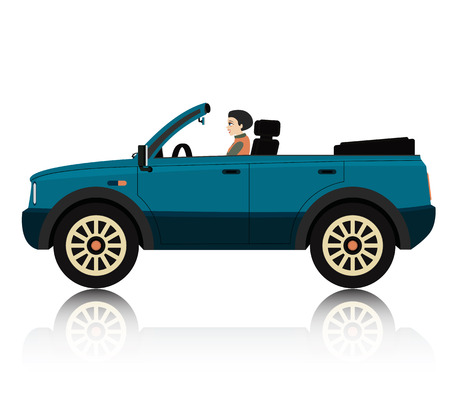 woman driving: Woman driving a convertible car with a white backdrop   Illustration
