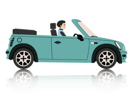 driving a car: Una mujer que conduc�a un coche con un tel�n de fondo blanco