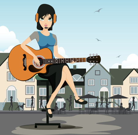 Woman guitarist with a background as a restaurant