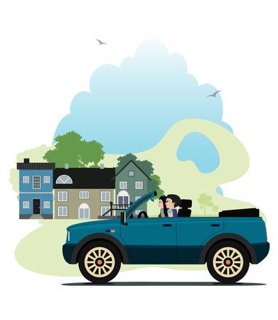 car showroom: Mujer que conduce un coche con la ciudad como tel�n de fondo