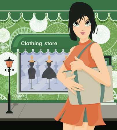 upscale:  Women bag in front of a clothing store  Illustration