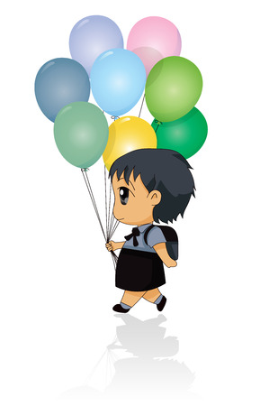 Children holding balloons in multiple colors with a white background   Vector