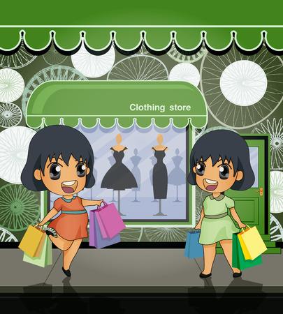 magasin vetement: Shopping femme tenant des sacs de papier avec l'arri�re de la boutique de v�tements Illustration