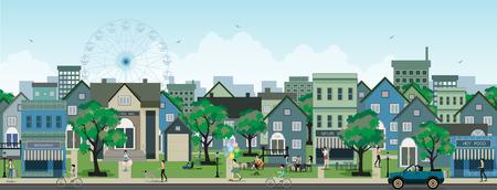 silhouette maison: Image de la vie dans la ville dans le ciel comme toile de fond Illustration