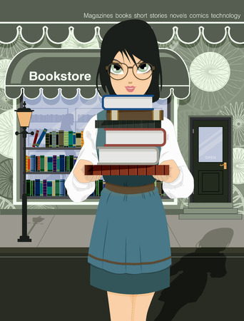bookshop: Woman holding a book with a bookshop as a backdrop   Illustration
