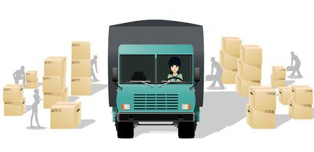 상자의 배경 여성 트럭 운전사