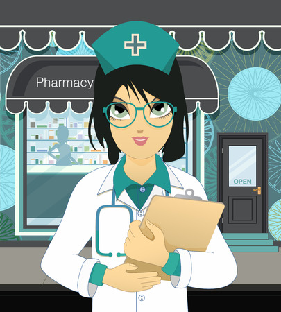 nhs: Pharmacists woman wearing glasses in front of the pharmacy