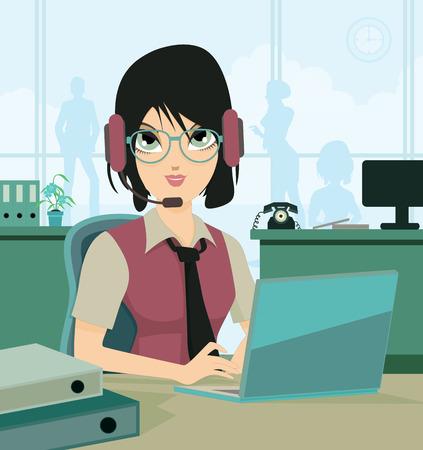 콜 센터 직원은 백그라운드에서 작동하는 여성 아르