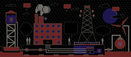 Electric power industry with the black background  Vector