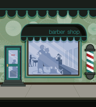 shop window display: Barber in the barber shop in town   Illustration