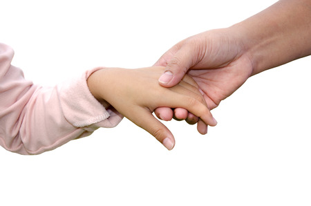 Hands of a mother and child with a white background  photo
