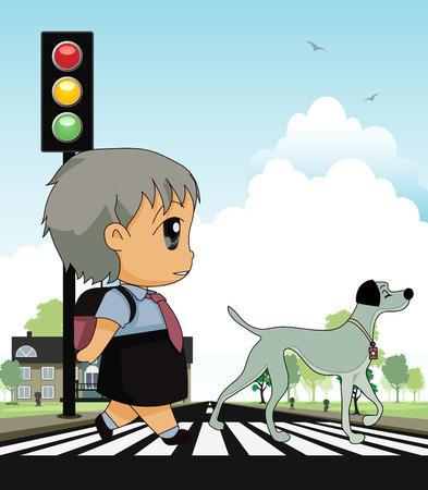 School children across crosswalk with a backdrop  Vector