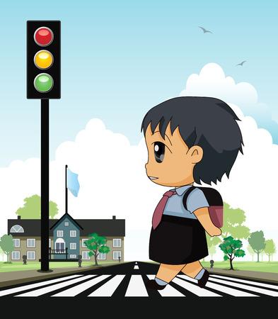 paso de peatones: Niños en edad escolar a través de cruce de peatones con un telón de fondo