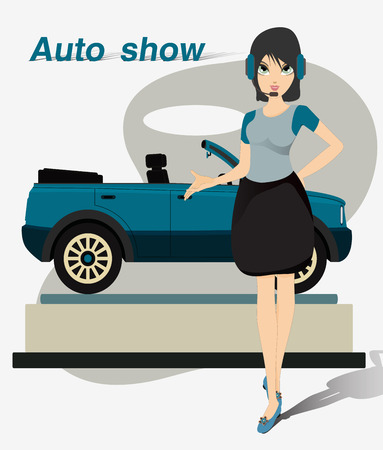 Women are leading the line model of the car Illustration