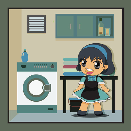 laundry room: Housewife girl who has a background as a laundry room