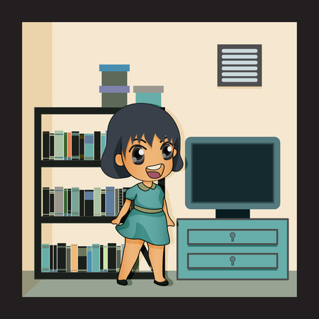 blue shirt: A girl in blue shirt in the reading room   Illustration