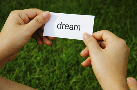 Text that dreams are in the hands of women   photo