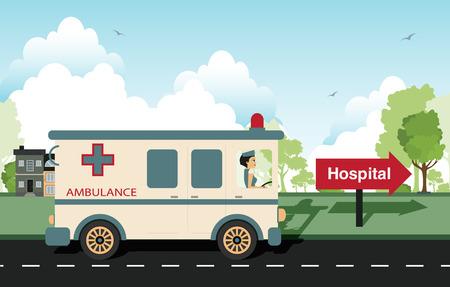 Ambulance with a nurse as a driver  Vector
