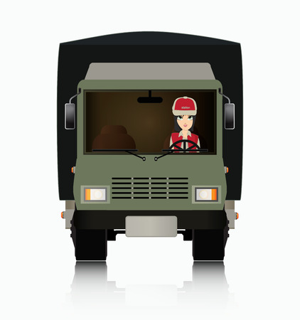 woman driving: Woman driving a truck with a white background