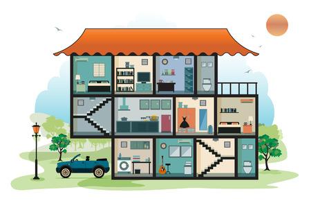 cutaway drawing: Home interior con cielo in background Vettoriali