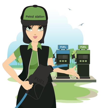 Female petrol station in the sky as a backdrop  Vector