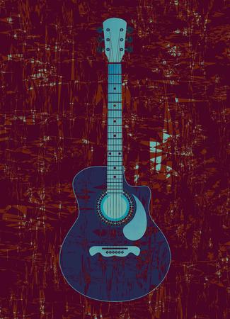 guitarra clásica: Guitarra cl�sica con un tel�n de fondo de superficie irregular. Vectores